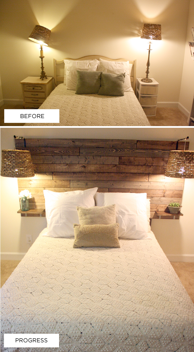 Headboard love the builtin shelves but i want the wood all the