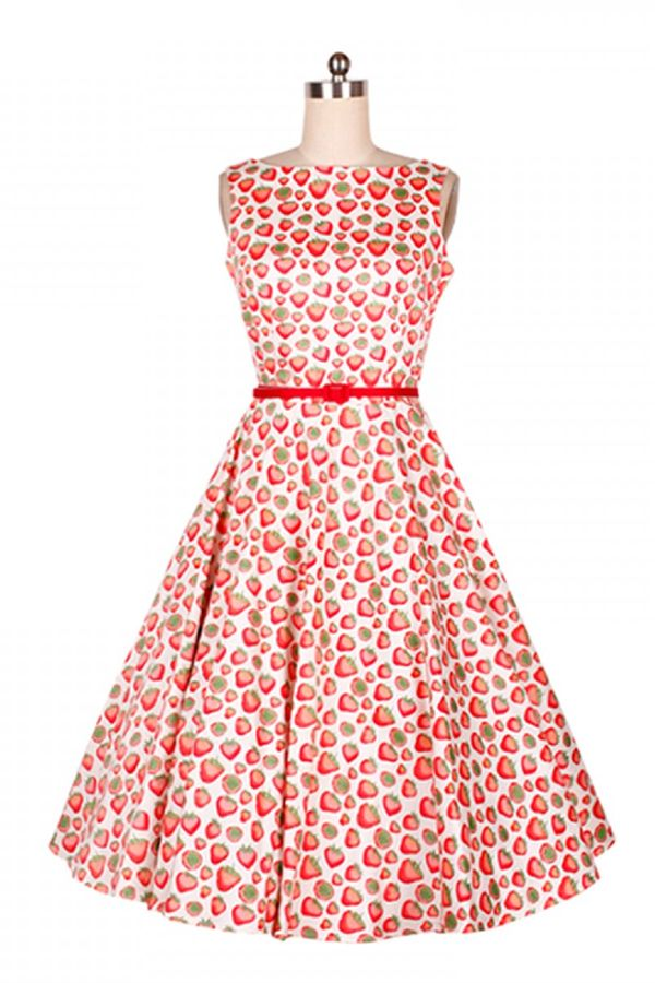 Vintage Style Style 50s Red Print Pattern Cotton Party Cocktail Dress
