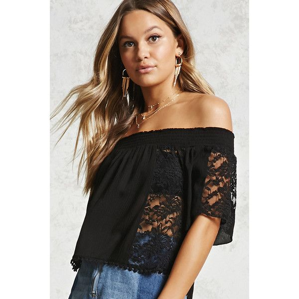 2e381f2e2303c Forever21 Lace Off-the-Shoulder Crop Top ( 9) ❤ liked on Polyvore featuring  tops