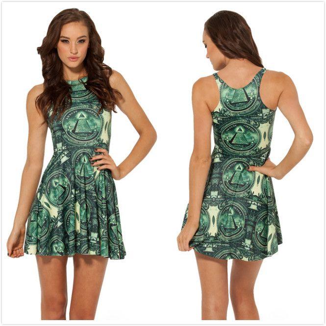 New 2014 Women Brand Summer Sexy Dollar Christmas Tree Print Pleated Dress,Ladies Green Mini Causal Beach Dress L Free Shipping $24.05