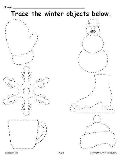FREE Printable Winter Tracing Worksheet! | Pinterest | Prickeln ...