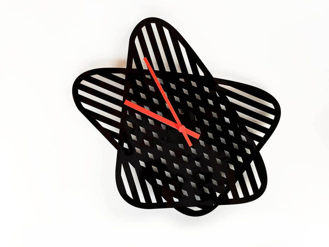 A wall clock made up of two overlapping surfaces with twelve lines