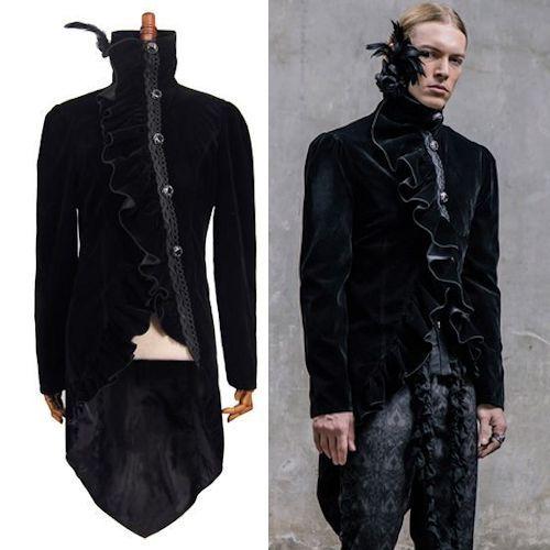 Men Black Velvet Fitted Victorian Gothic Dress Tail Jacket Trench ...