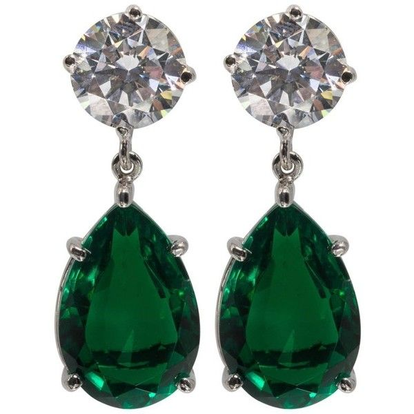 Magnificent Costume Jewelry Diamond Emerald Drop Earrings 2 085 Pen Liked On Polyvore Featuring Chandelier Green