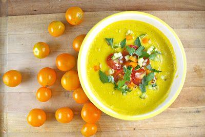 yellow tomato gazpacho - makes me want a tomato farm!