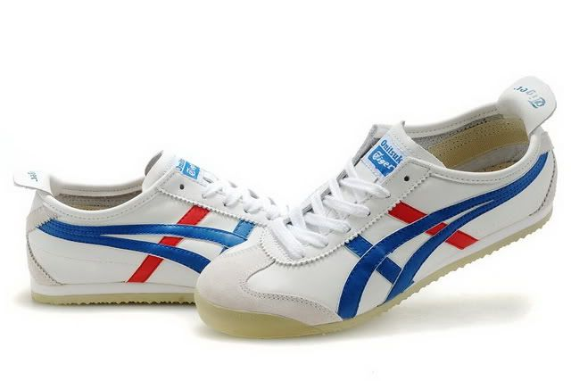 onitsuka tiger mexico 66 white blue red gold leather