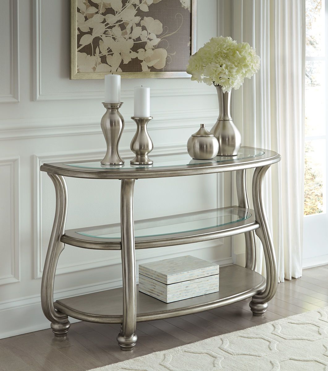 Coralayne Silver Finish Sofa Table With Images Sofa Table