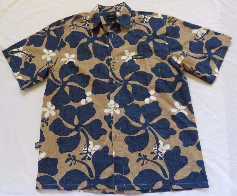 9b7fb623 Te Mana Tahiti Mens Sz L Blue Taupe Hawaiian Aloha Shirt Hibiscus Cotton  New #TeManaTahiti #AlohaShirt