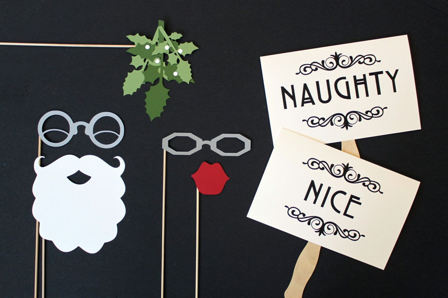 wedding photo booth props printable%0A Photobooth Prop  Photo Prop  Santa and Mrs Claus Mistletoe Photo Booth Prop