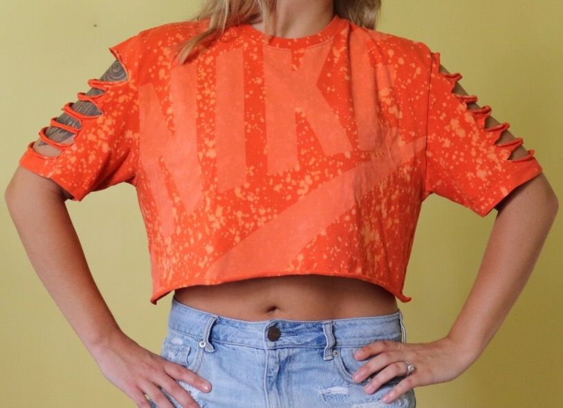 Orange Nike Crop Top Diy Crop Top Bleached Shirt Bleached Tee Edgy Outfit Edgy Fashion Grunge 90s Grunge Grung Diy Crop Top Bleach Shirts Nike Crop Top
