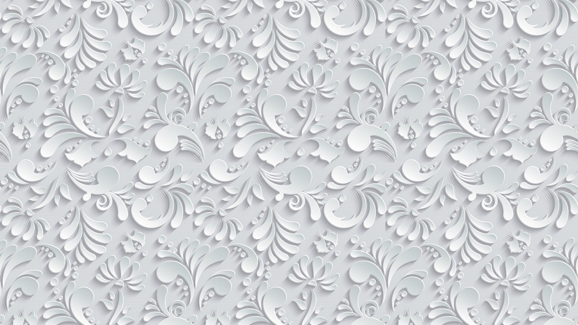 1920x1080 Vector Floral 3d Seamless Pattern on grey