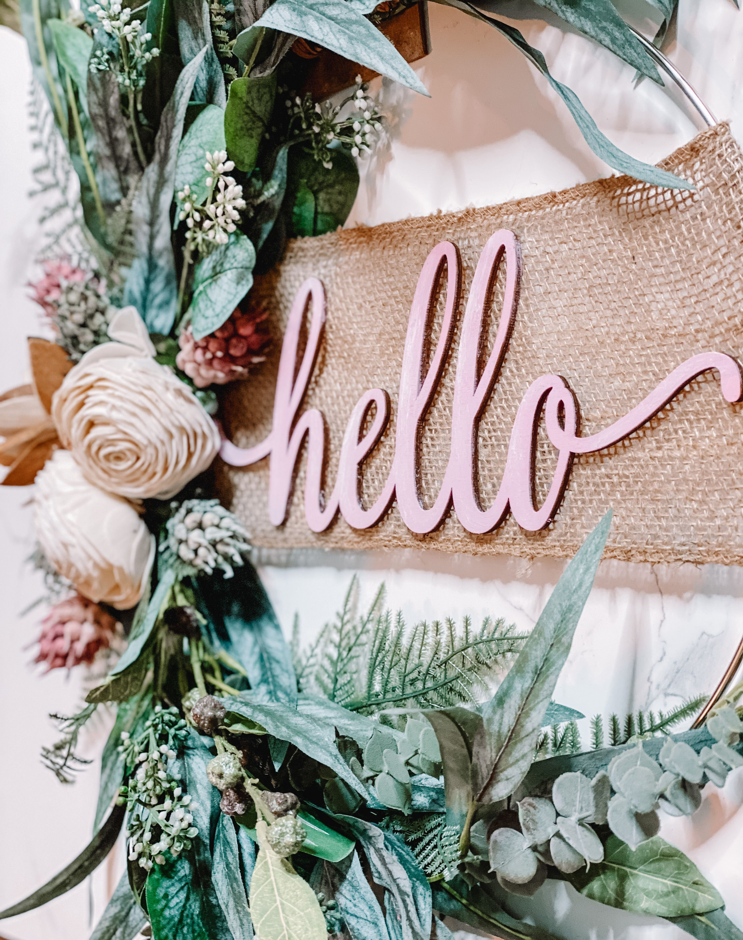 "Photo of Hello 14 ""Modern Rustic Hoop Wreath"