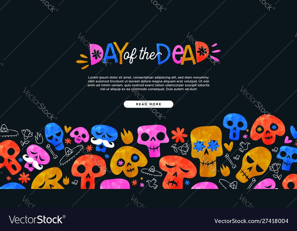 Day dead cartoon skull landing page template Vector Image