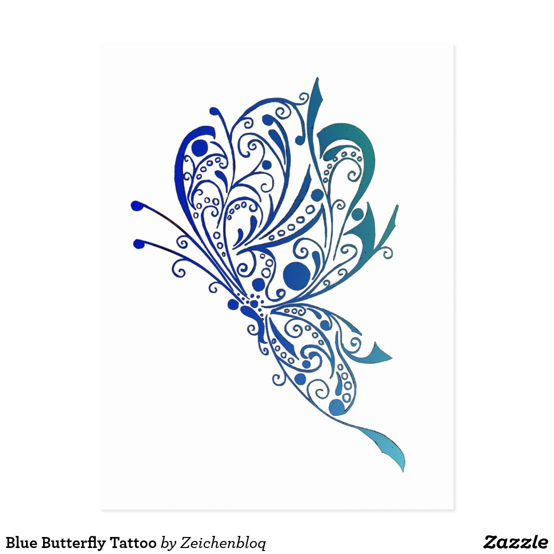 Blue Butterfly Tattoo Postcard | Zazzle.com