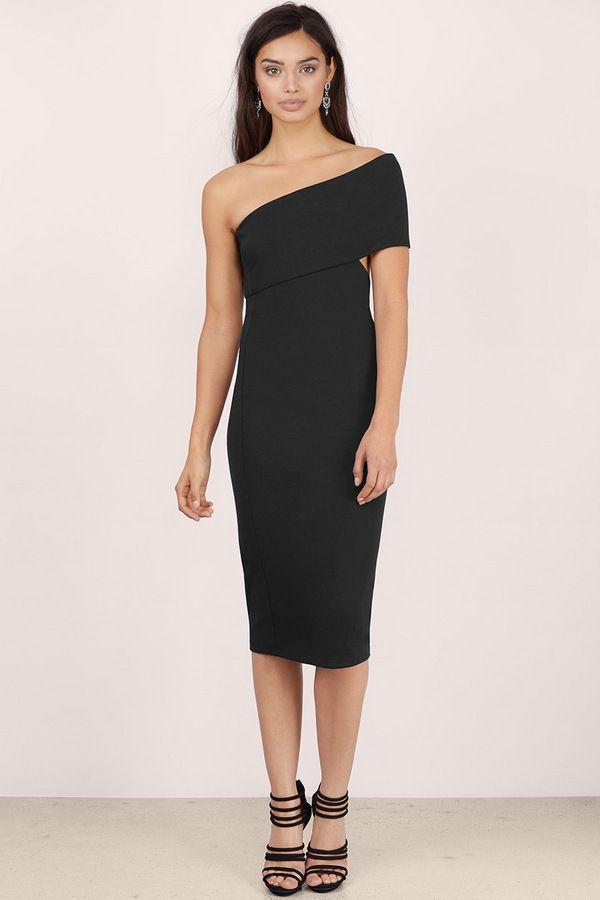 Side Swipe Bodycon Midi Dress