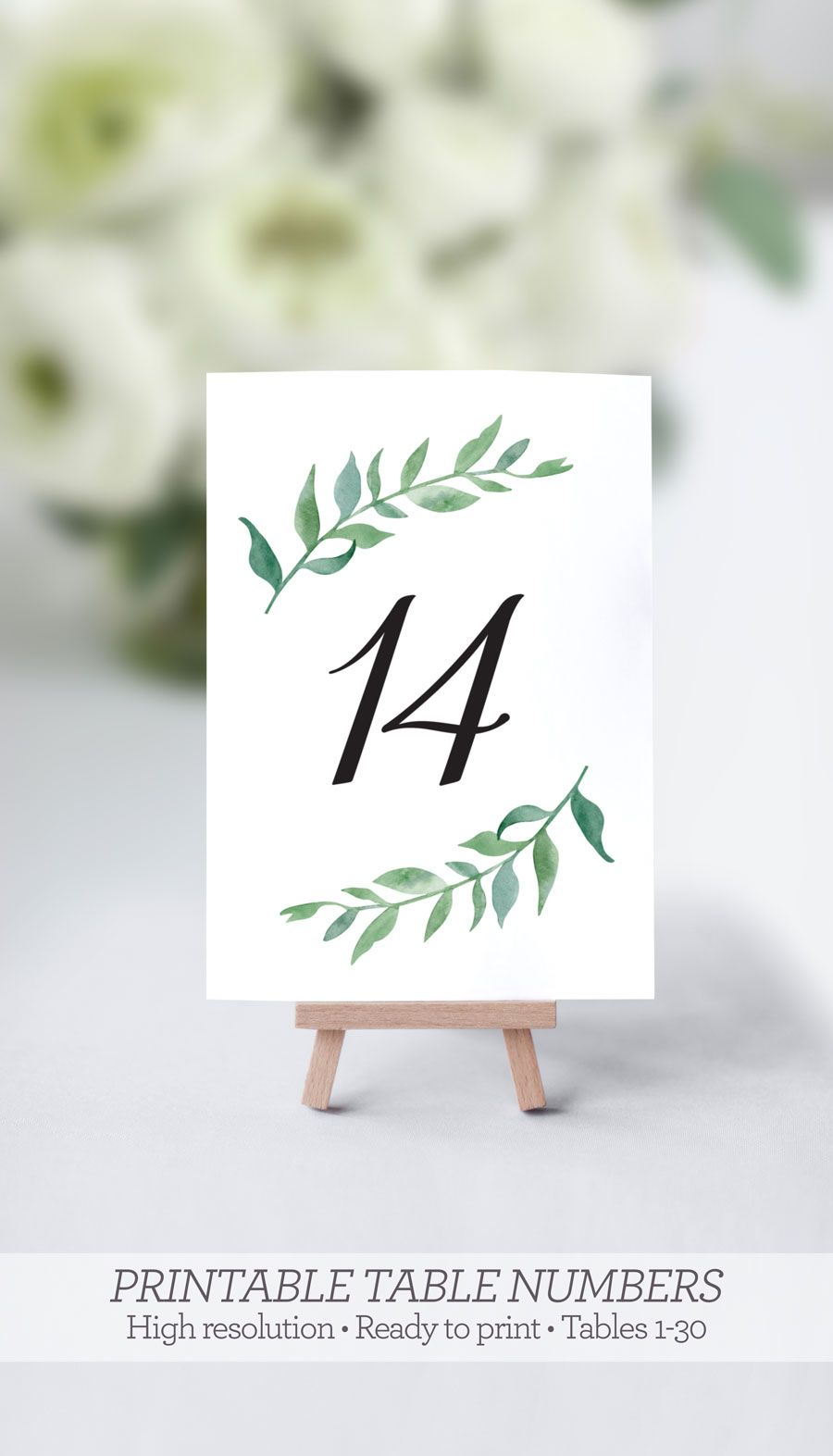 printable greenery table numbers wedding watercolor 1 30 wedding