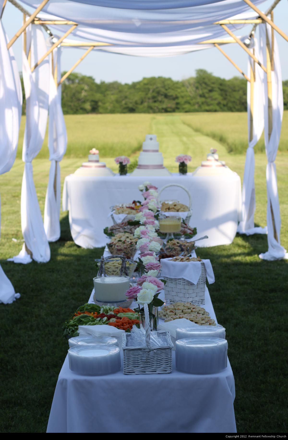 Outdoor Wedding Reception With Elegant White Food Table And Pink Flowers