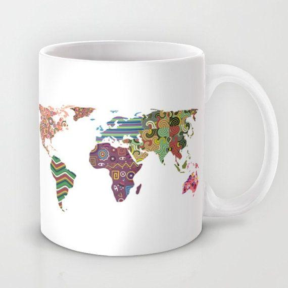 World Map Ceramic Mug Printed Coffee Cup Etsy Printed Coffee Cups Mugs Unique Coffee Mugs