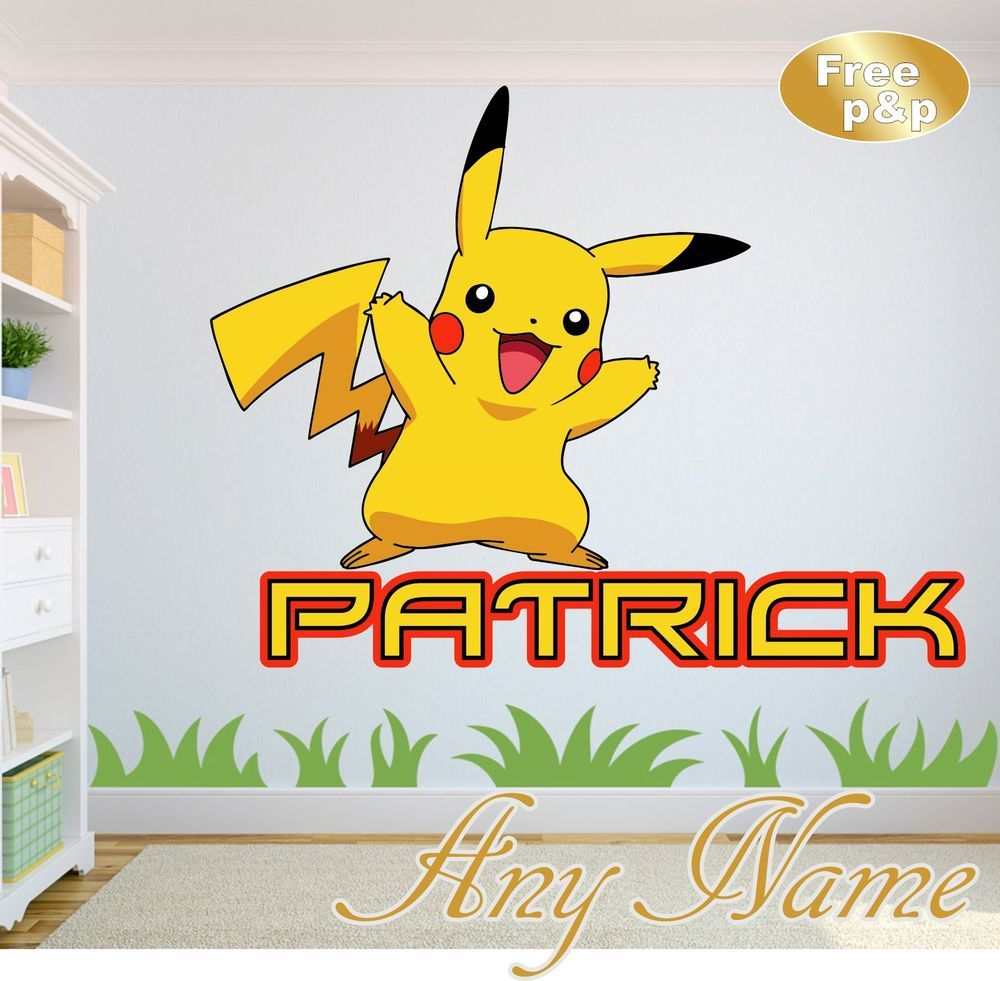 POKEMON GO PIKACHU personalised NAME WALL ART DECAL sticker GIRLS ...