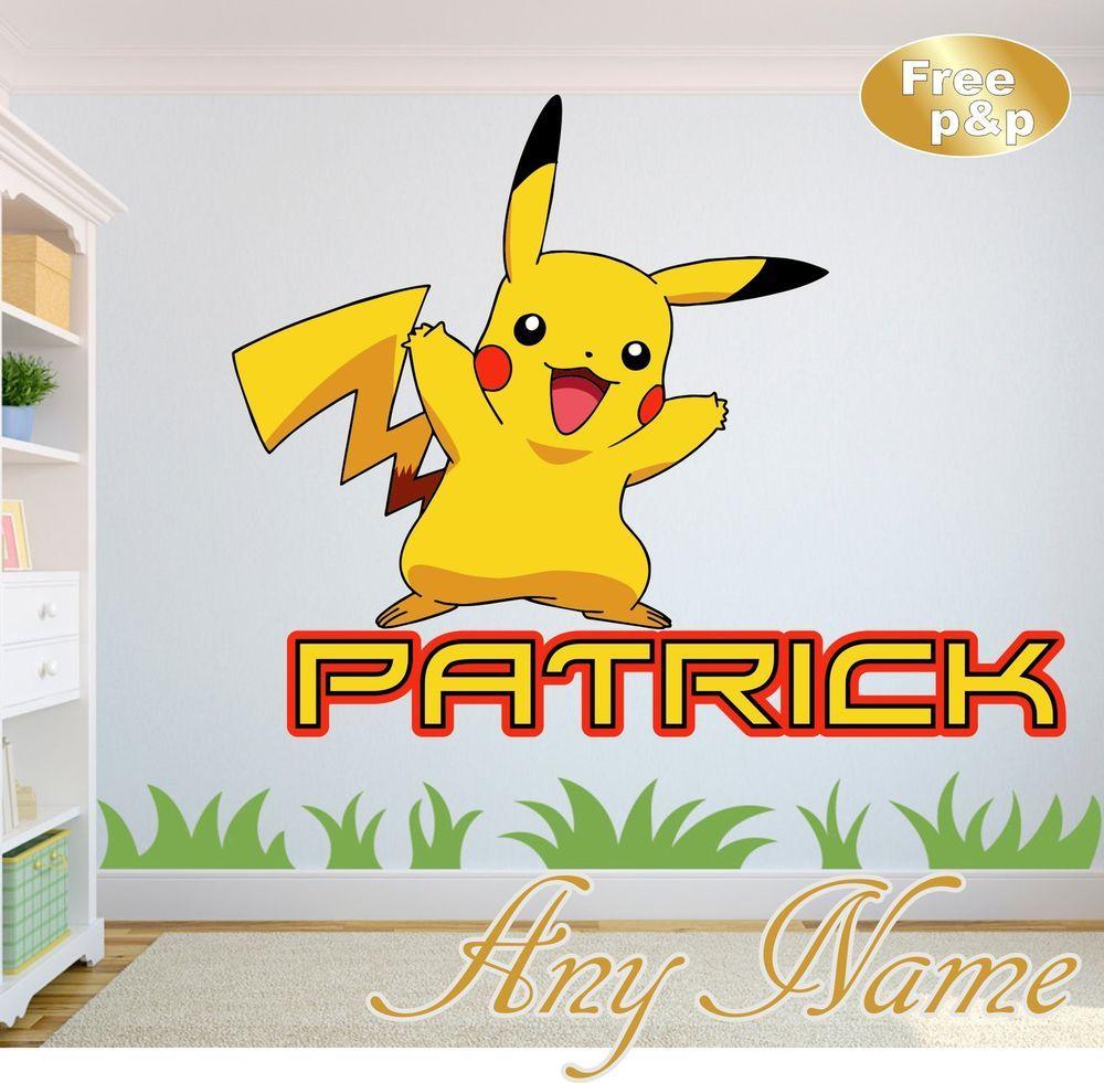 POKEMON GO PIKACHU personalised NAME WALL ART DECAL sticker GIRLS ...