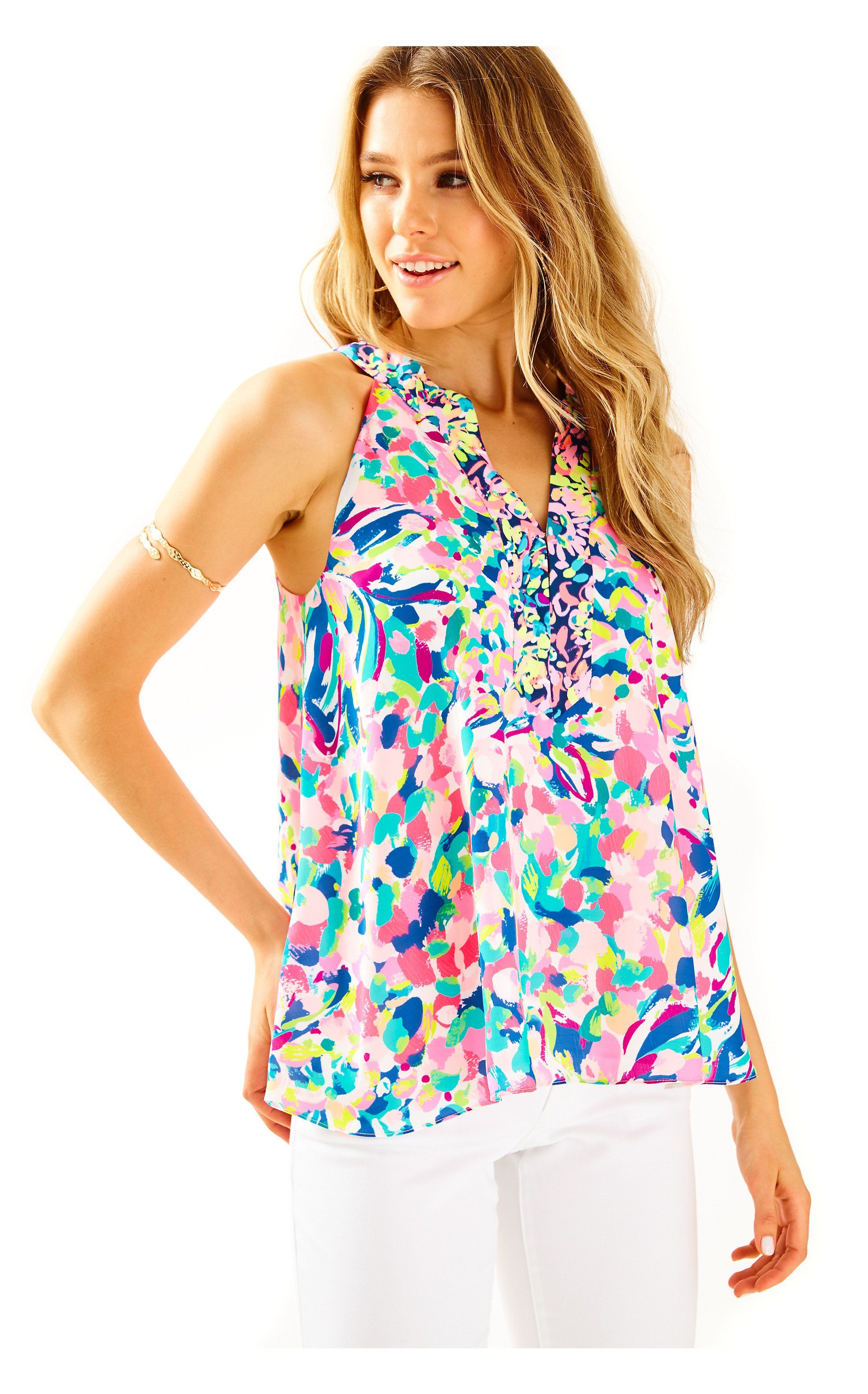 ed6b8172e9af Pink a Lilly Pulitzer Signature Store. Achelle Top in Multi Pina Colada  Club Engireered