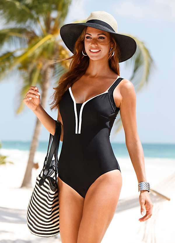 0c24bb8c9497f Black & White Contrast Trim Swimsuit by bpc selection | From Beach ...