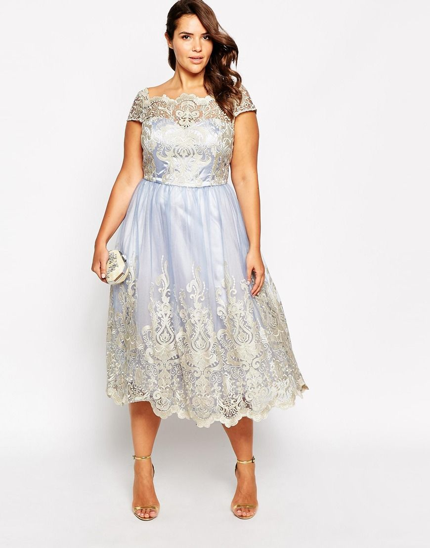 Image of chi chi london plus metallic lace cap sleeve midi prom