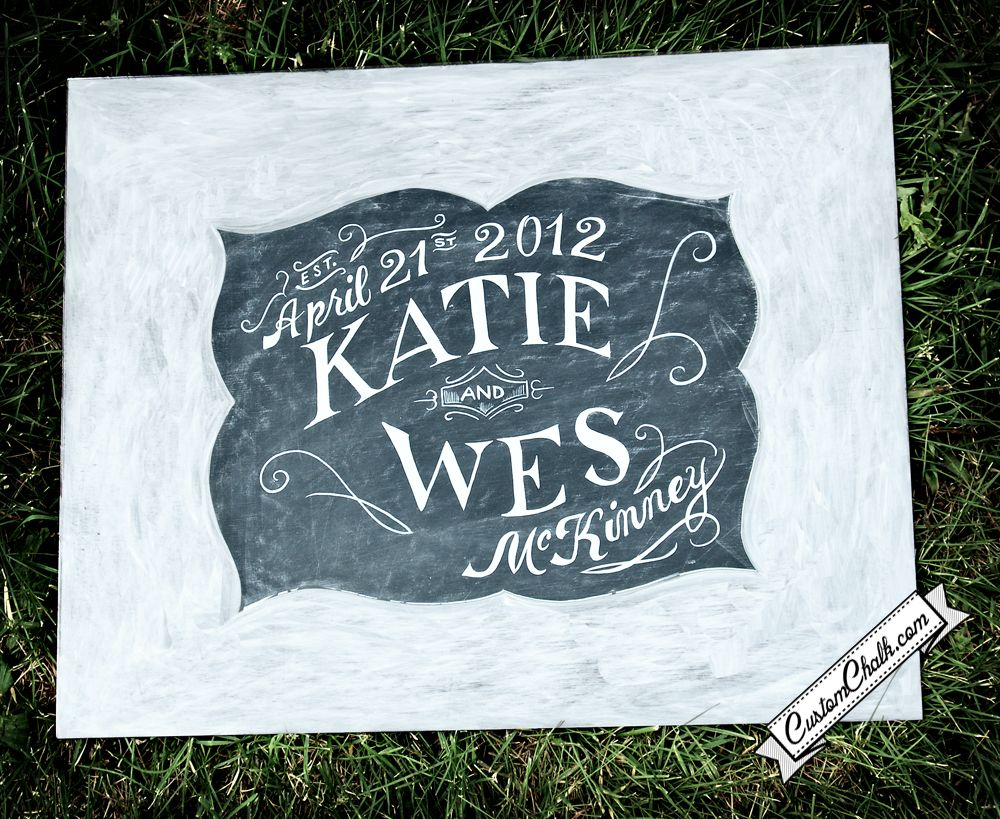 Your names and wedding date are hand painted in the middle while the outside is painted with a thick white border.  Your guests can write on the border with a Sharpie.