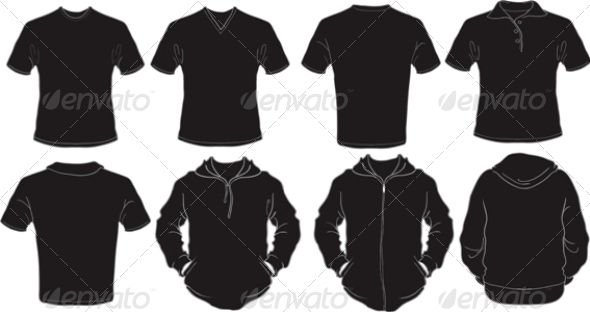 Male Black Shirts Template Template, Mockup and Font logo - t shirt template