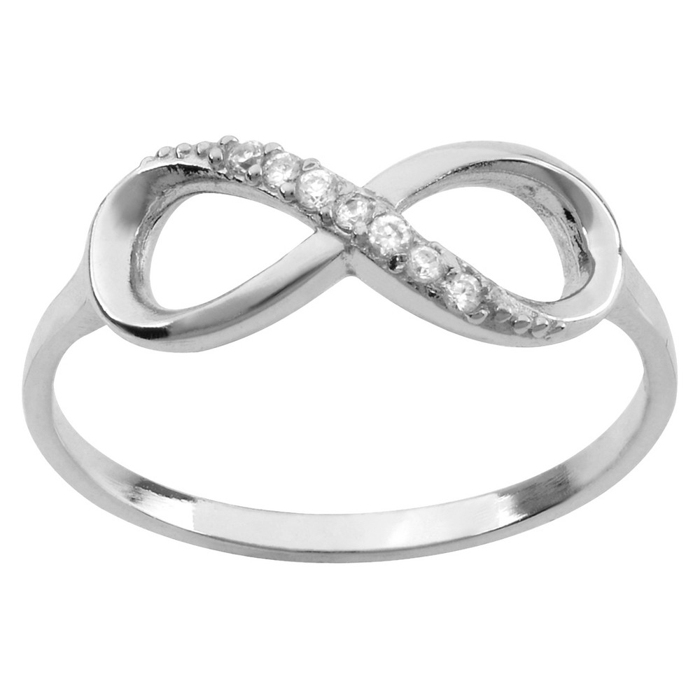 Flaunt high fashion with this sterling silver ring by Journee Collection. This ring is fashioned into an infinity emblem and highlights sparking cubic zirconia stones. A high polish finish completes this great look. Size: 9. Gender: Female. Age Group: Kids.. 1/10 CT. T.W. Round-cut Cubic Zirconia Infinity Pave Set Ring in Sterling Silver - Silver 9 Girl's high fashion with this sterling silver ring by Journee Collection. This ring is fashioned into an infinity emblem and highlights sparking cubic zirconia stones. A high polish finish completes this great look. Size: 9. Gender: Female. Age Group: Kids.. 1/10 CT. T.W. Round-cut Cubic Zirconia Infinity Pave Set Ring in Sterli...