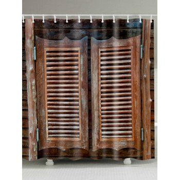 Vintage Wood Door Eco Friendly Fabric Shower Curtain Fabric