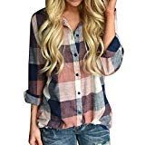 ee62bf40a34734  3  Boomboom Winter Women Plus Size Long Sleeve Button Loose Plaid Shirt  Teens Girls Blouse Size S-5XL