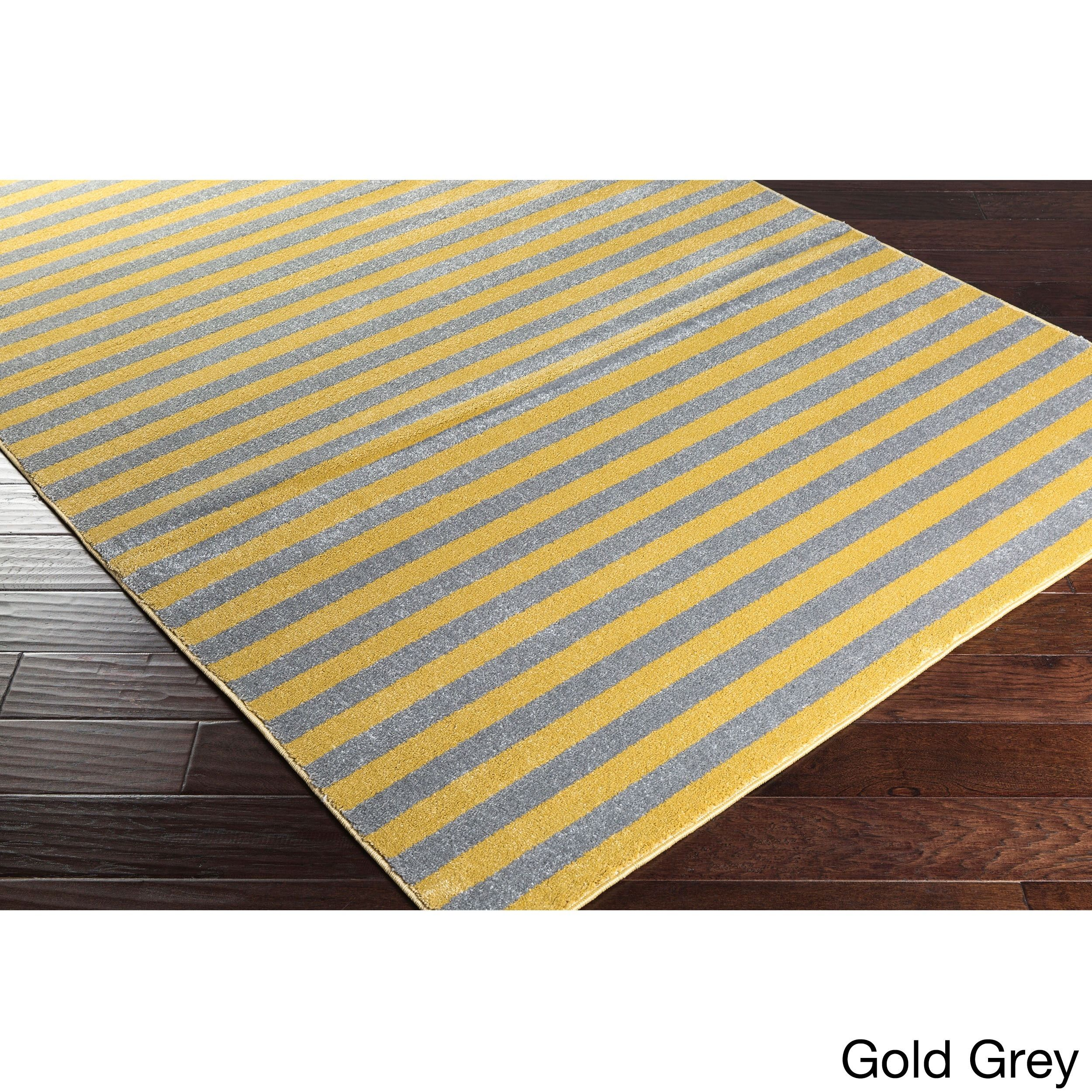 Meticulously Woven Reze Casual Striped Area Rug (7'10 x 10'3) (Gold and grey), Size 8' x 10'