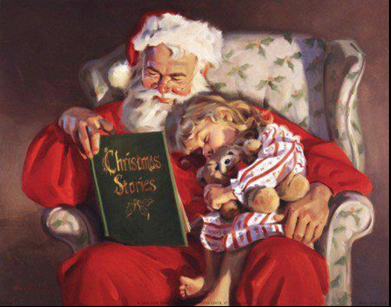 Santa reading Christmas stories Santa Claus, St. Nick, Father Time, Christmas