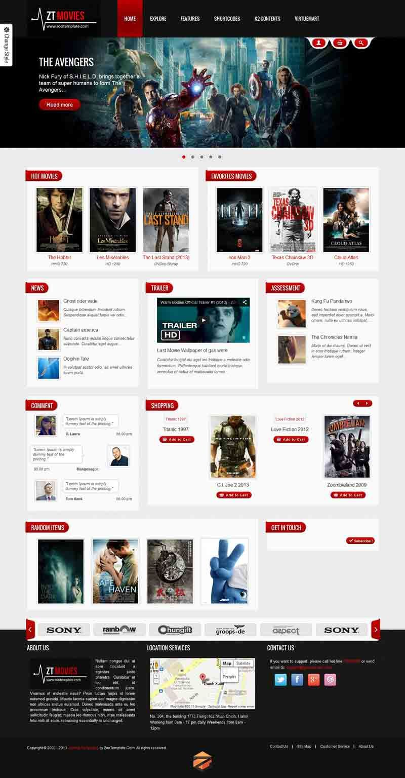 ZT Movie - Responsive Joomla Template for Entertainment