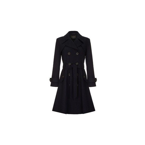 Anastasia Women's Navy Wool Winter Belted Trench Coat Coat (£50) ❤ liked on Polyvore featuring outerwear, coats, blue, women, woolen trench coat, trench coat, blue wool coat, blue coat and navy blue wool coat