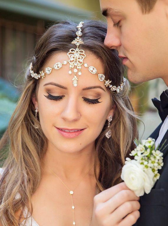 46e2620a1bfd Silver Swarovski headpiece Forehead front pin Art by AMYOBridal. Bridal  Headband Rhinestone ...