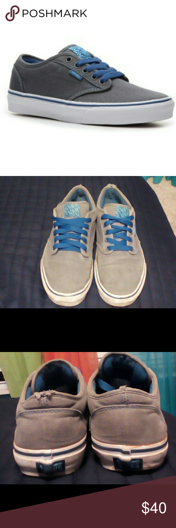 3e656a5d72 UNISEX Grey and blue Vans  100% Authentic Vans  Men or Womens  Grey with Blue  Laces  Good Condition  Only wear is on the back just from putting them on  and ...
