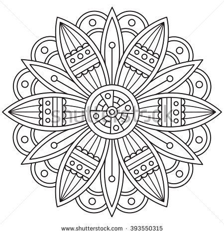 Mandala Black And White Round Ornament Coloring Page Vector