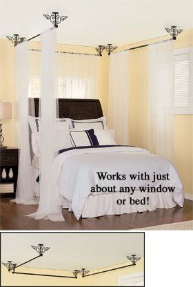 Amazon Com Set Of 3 Ceiling Mount Curtain Rods Canopy Bed