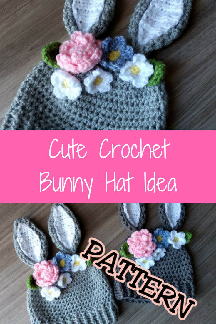 Crochet PATTERN Bunny Hat with Flowers crown, Crochet Easter Hat ...