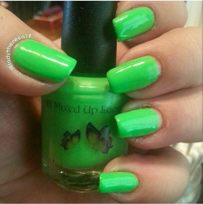 'Camera freak out' is the neon green creme from the 'Neon addicts anonymous' collection by www.allmixeduplacquers.com.  no white base is needed for any polishes in this collection.