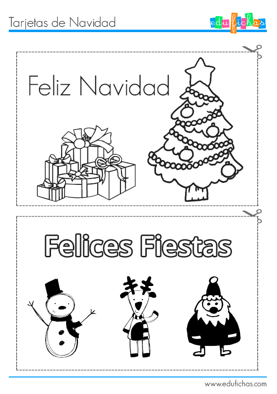 Tarjetas de Navidad infantiles, para recortar http://www.edufichas ...
