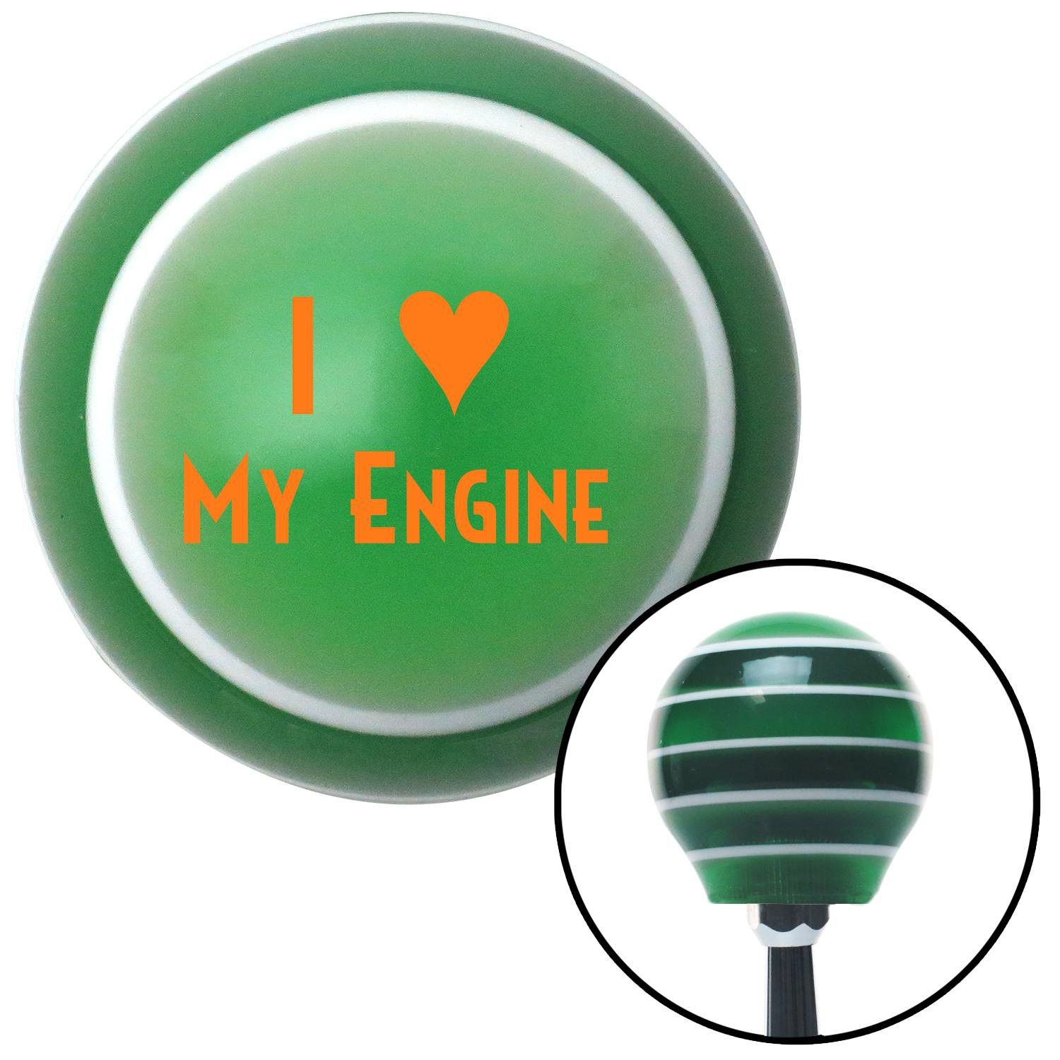 Orange I 3 MY ENGINE Green Stripe Shift Knob with M16 x 15 Insert - Give your interior the ultimate look. American Shifter's Elite(TM) series shift knobs are made from the highest quality components resulting in a superior feel on every shift. Each shift knob is designed and customized in the USA by skilled shift knob artisans who have a trained eye on every detail. American Shifters shift knobs offers an exclusive aluminum threaded insert designed to be screwed onto your shift arm. You…
