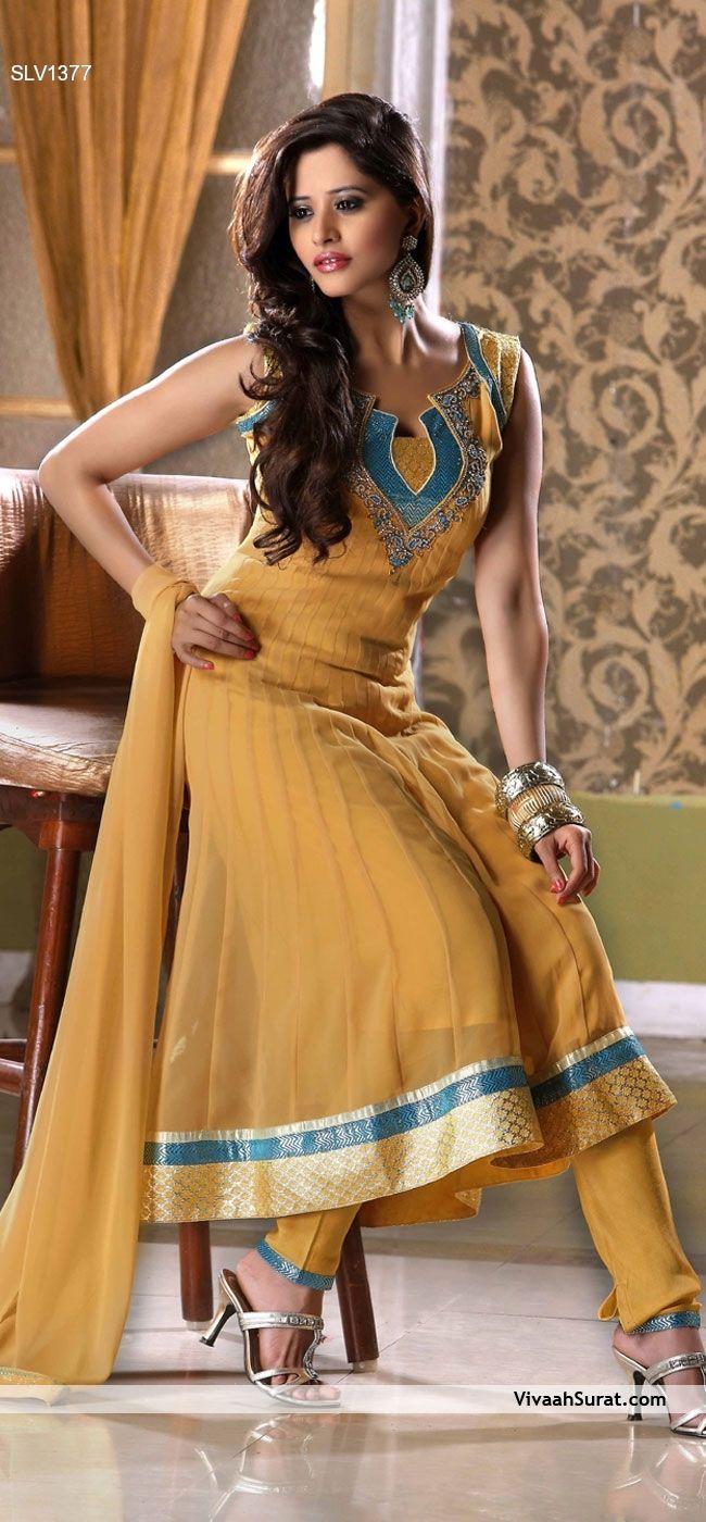 Yellow Anarkali Churidar Suit