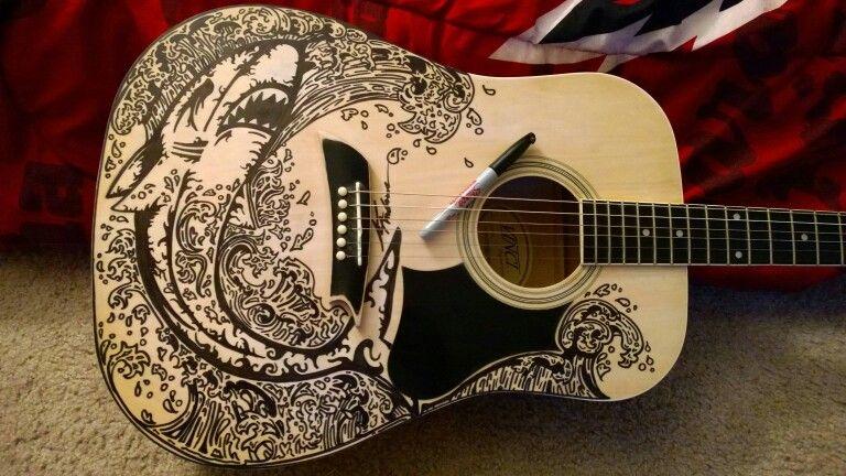 Acoustic With Sharpie Drawn Shark And Design Sharpie Art Sharpie
