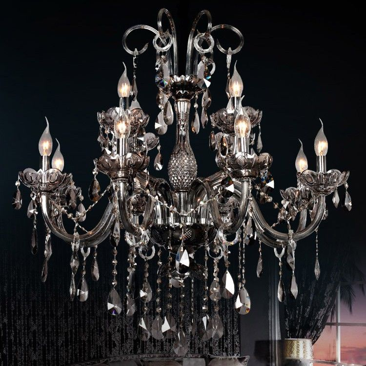 Gracy smokey gray 2 tier 12 light crystal chandelier chandeliers gracy smokey gray 2 tier 12 light crystal chandelier chandeliers ceiling lights lighting our home pinterest chandeliers ceiling lights and mozeypictures Image collections