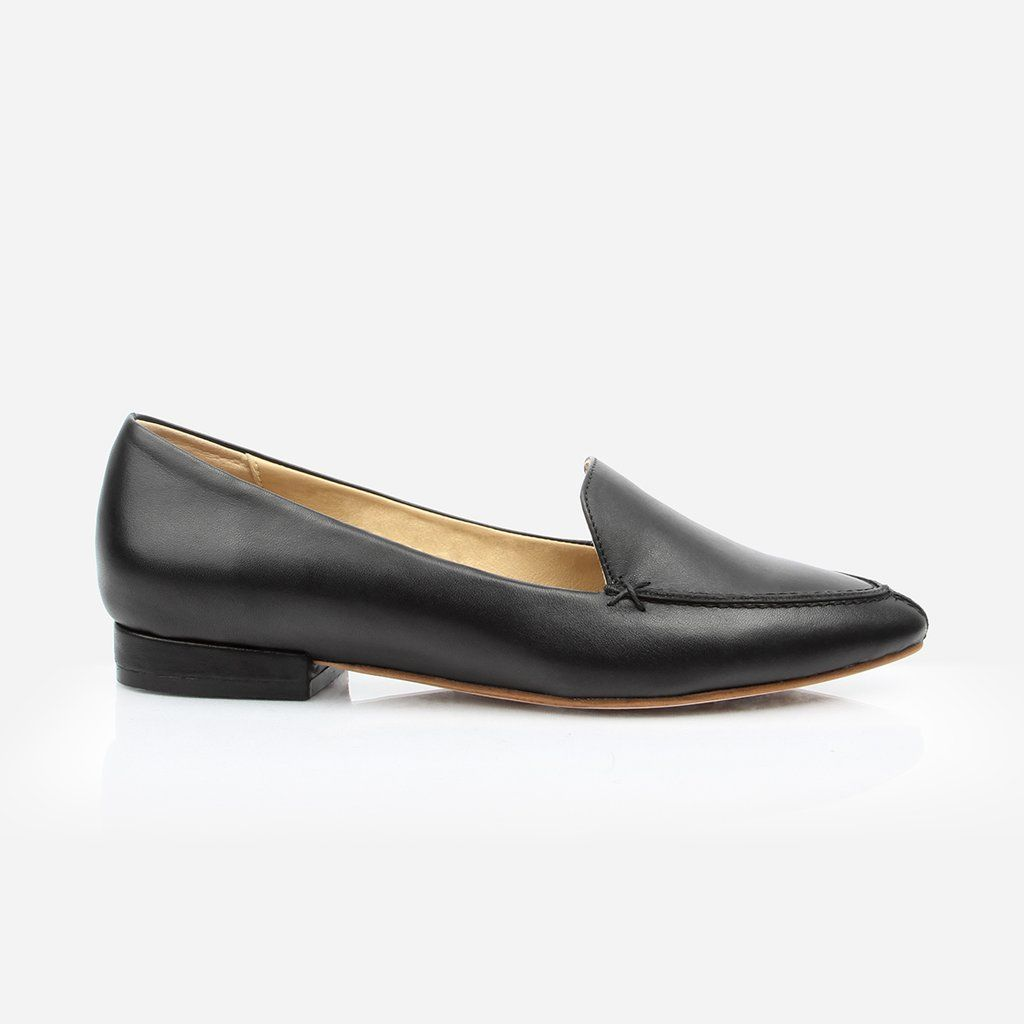 7b38d4e883ad The Classic Loafer - black leather womens pointed toe flat - Poppy Barley