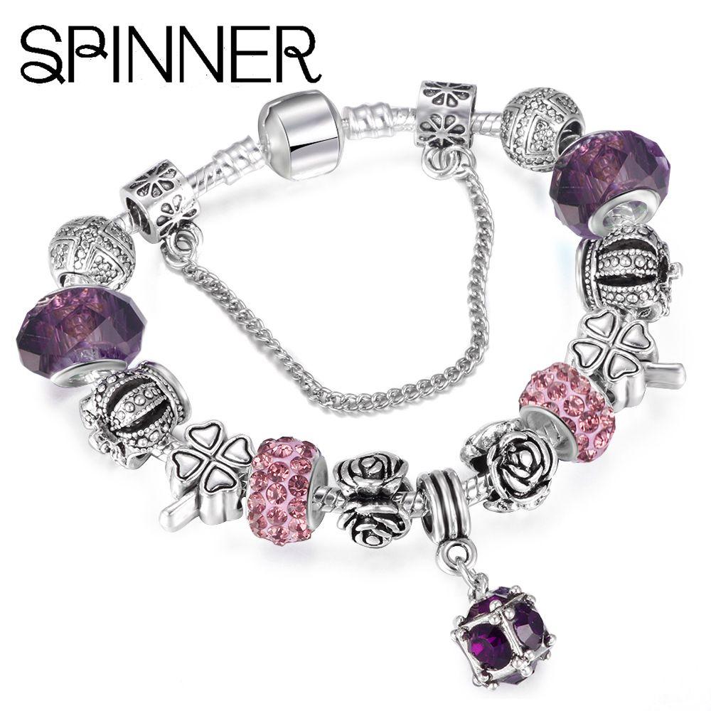 Spinner european style vintage silver plated crystal charm bracelet