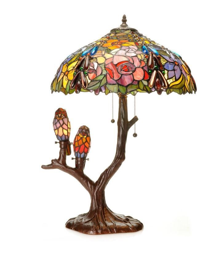 Beautiful love birds tiffany style art glass vintage accent lamp beautiful love birds tiffany style art glass vintage accent lamp by alltherainbow on etsy https mozeypictures Gallery